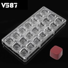 PC Chocolate Mold DIY 21 Cups Squares Handmade Decoration Polycarbonate Candy Cake Kitchen Food Containers Chocolate Tools(China)