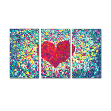 FREE SHIPPING Loving Heart Picture Canvas Art on the Wall for 3 Panel Canvas Art Oil Painting(Unframed)40x60cmx3pcs