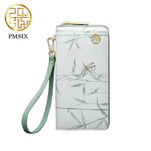 Pmsix Casual Women Wallet Chinese Style Design Fresh Multi-function Female Purse Card Holder P420068 Light Green(China)