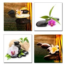Zen Stone Flowers 4 Piece Modern Artwork Floral Giclee Canvas Prints Brown Nature Pictures Paintings on Canvas Wall Art