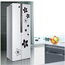 1SETS on the refrigerator door with decorative wall stickers kitchen window glass cabinets with peach blossoming open