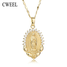 CWEEL Necklace For Women Men Statement Vintage Jesus Pendant Holiday Christian African Beads Gold Color Accessories Party Gift(China)