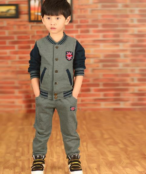 Children Long Sleeved Suit Autumn Baby Boy 2 Piece Cotton Grey 2~13 Years Old Kids Clothes<br>