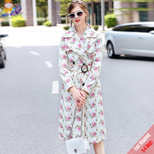 2017 New Fasion Designer Coats High Quality Autumn Women's Long Sleeve Pink Flower Printed Belted long Jacket Overcoat Free DHL(China)