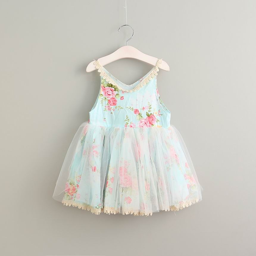 2017 Summer Girl Cotton Lace Dress Blue Baby Girl Flower Birthday Dresses Elegant Cute Childrens Dress Kids Costume Princess<br>