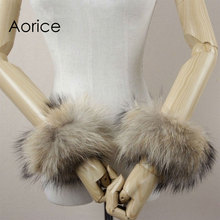 CUF701 Real Genuine high quality raccoon fur cuffs cuff real natural fox fur cuffs cuff(China)