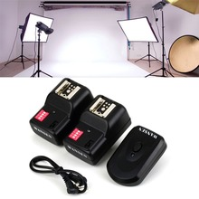 Wireless 4 Channels Practical Flash Trigger Transmitter With 2 Receivers Set For Nikon For Canon PT-16GY(China)