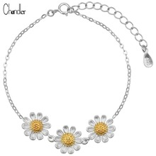 925 Sterling Silver Three Blooming Daisy Flower Cahrm Bracelet & Bangle For Women Girls Link Chain Adjustable Homme Bijoux Gift
