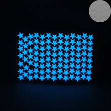 100pcs/lot Blue Light Luminous Stars Wall Stickers Home Decor Glowing in Dark Star Sticker Kids Bedroom Ceiling Decoration(China)
