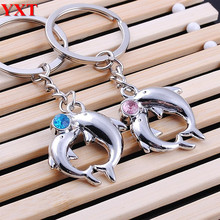 2 Pcs Lovely Dolphins Metal Couples Baby Pendant Crystal New Fashion Charm Car Key Ring Chain Creative Favorite Gift
