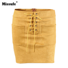 Buy Missufe Sexy Bandage Suede Leather Skirts Women 2017 Autumn Solid Lace Bodycon Mini Skirt Pockets for $12.98 in AliExpress store
