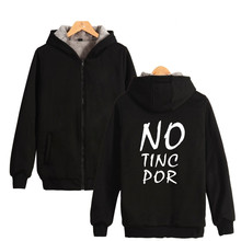 Two Step Spain NO TINC POR Hoodies With Zipper Clothing Letter Print Against Terrorism Mens Thick Warm Brand Hooded Sweatshirt(China)