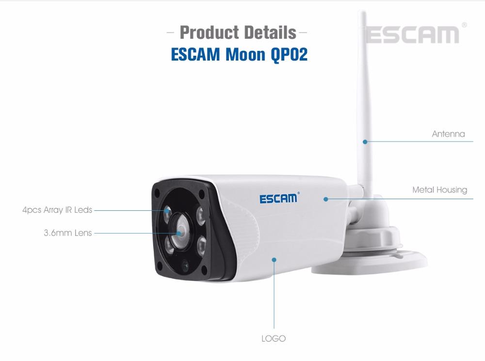 Escam Moon QP02 2MP HD 1080P WIFI Alarm Camera Outdoor Bullet IR-Cut 180 degree Security ip Camera Support Max 64G TF card (16)