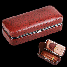 Portable Travel Use Stainless Steel Silver Plated Frame Wooden Lining Leather Cigar Humidor W/ Cigar Cutter