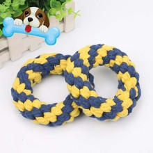 Dental Teething Bite Resistant Puppy Small Dogs Tooth Molars Toys Pet Dog Chew Toy Cotton Braided Rope Ring J2Y(China)