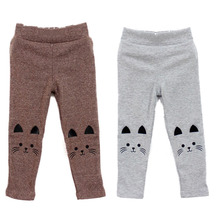 Trendy 2-7Y Baby Girl Cute Cat Print Pants Kid Warm Stretch Leggings Trousers L07(China)