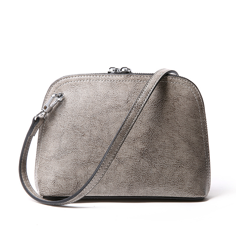 New women genuine leather handbag Mini summer handbag Simple retro oil wax cowhide shoulder Messenger bag Casual lady shells bag<br>