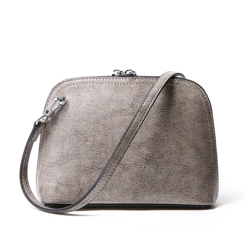 New women genuine leather handbag Mini summer handbag Simple retro oil wax cowhide shoulder Messenger bag Casual lady shells bag<br>