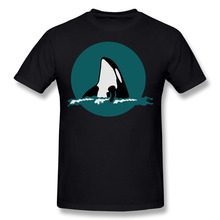 Orca Killer Whale Cotton Printing O-Neck Short T shirts Men Dolphin Cosplay Black T shirts