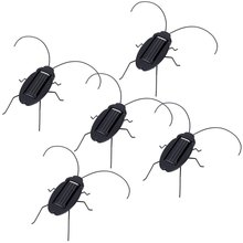5Pcs New Arrival Solar Power Drive Design Mini Black Cockroach Trick-playing Toy Insect Bug Teaching Toy Gift Educational Toys