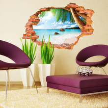 14 Kinds Style Sunshine Beach Sea 3D Window View Vinyl Wall Stickers, Living room background picture Fashion Art Poster stickers(China)