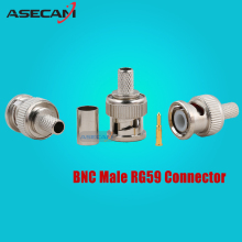 Freeshipping 10pcs/lot BNC Male Crimp plug for RG59 Coaxial Cable RG59 BNC Connector BNC male 3-piece crimp connector plugs RG59