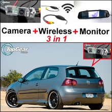 3 in1 Special Rear View Wifi Camera + Wireless Receiver + Mirror Monitor Easy DIY Parking System For Volkswagen VW Golf Rabbit