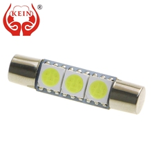 Buy KEIN 10PCS 28mm t6 festoon led 5050 3SMD Vanity Mirror Bulb Interior Light Reading License Plate Signal Lamp 12V auto white blue for $4.14 in AliExpress store