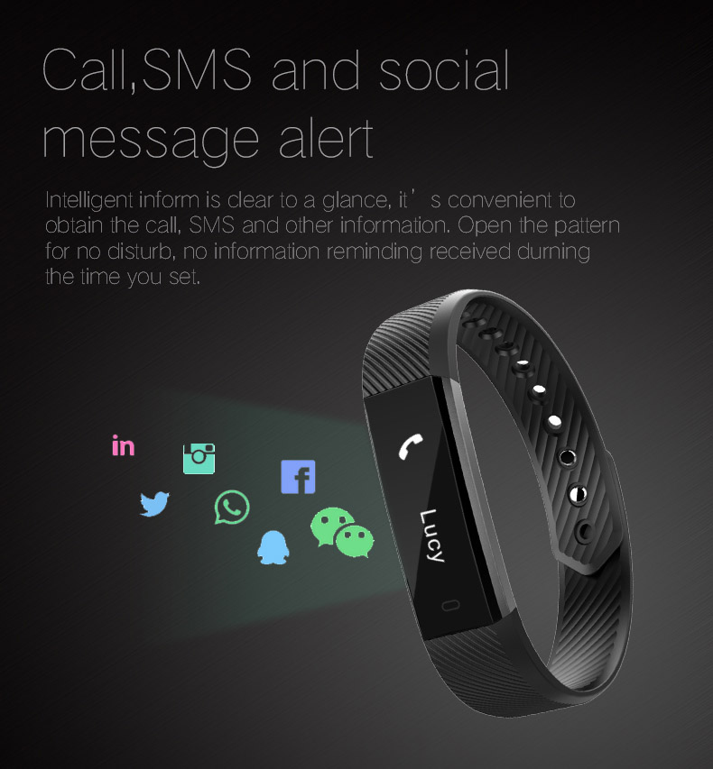 Hold Mi Smart Band ID115 HR Bluetooth Wristband Heart Rate Monitor Fitness Tracker Pedometer Bracelet For Phone 15