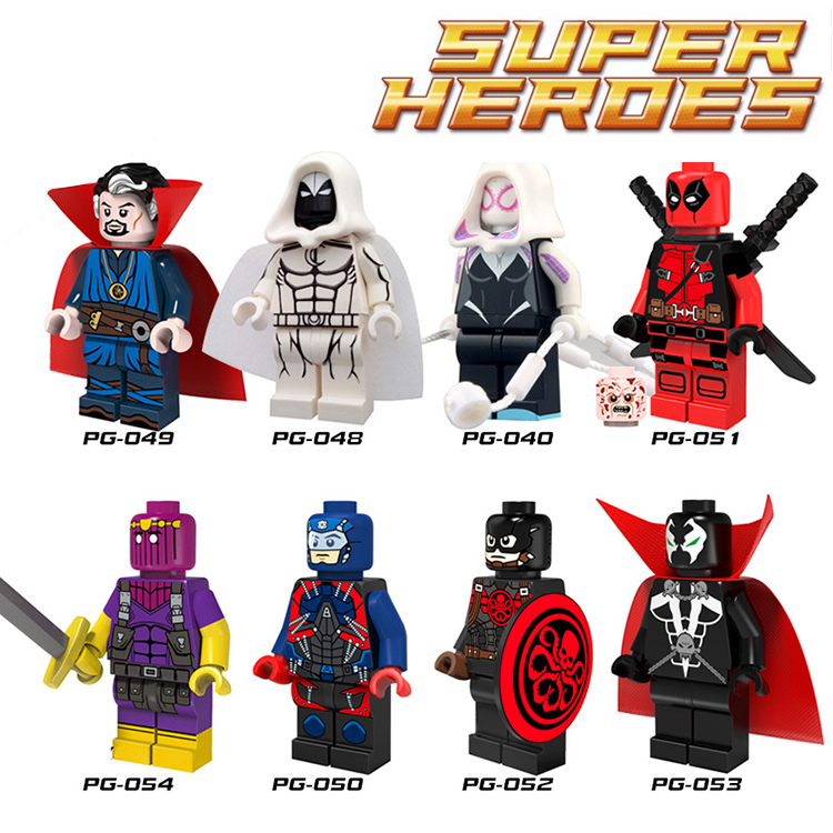 1PC Deadpool Minifigures Marvel Super Heroes doctor strange Atom Captain America Spawn Avengers Batman Building Blocks<br><br>Aliexpress