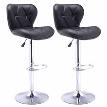Set of 2 Bar Stools Leather Modern Hydraulic Swivel Dinning Chair Barstool Black HW48529-2BK