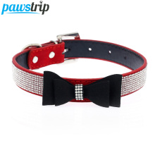 Cute Bow Design Dog Collar Bling Crystal PU Leather Suede Pet Puppy Neck Collar Lead S/M/L(China)
