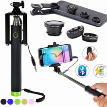 New 4in1 Macro Lens Mobile Camera Lens Fish Eye Fisheye with Wired Selfie Stick Pole Monopod For Apple iPhone 4S 5 5S 5C 6 Plus