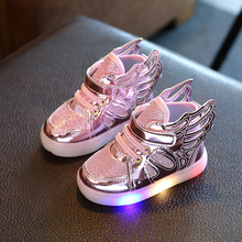 Children Shoes With LED Light 2017 Spring Boys Fashion Glowing Sneakers Girls Wings Canvas Flats Shoes Kids Light Up Shoes(China)