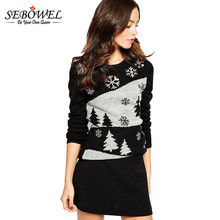 SEBOWEL Fashion Women Sweater Christmas Pattern Black Contrast Floral Print Pullovers Sequined Knitted Loose Jumper