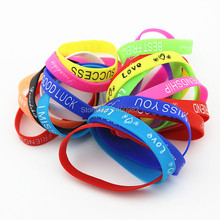 Fashion 10PCS letters Print Silicone Bracelet Mixed colors 12mm wide Rubber Luminous wristbands for men women's jewelry YB193(China)