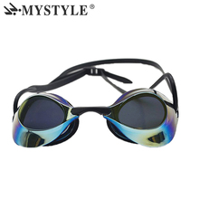 MYSTYLE New Design Professional Racing Swimming Goggles Electroplate Anti Ultraviolet Anti-Fog  Waterproof Silicone Swim Gafas