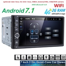 7 inch Android 7.1 OS Quad Core 2 din Universal Car DVD Player For VW/Kia Rio 4G WiFi Bluetooth GPS Navigation Radio 1024*600 BT