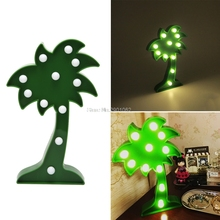 3D Marquee Night Lamp With 11 LED Battery Operated Coconut Tree Night Light New -B119(China)