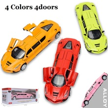 Extended Alloy Car model 18Cm Die Cast Toys Car, W/Light And Music, 4-doors Open Pull Back N Return(China)