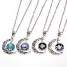 Moon Star Time Artificial Synthetic Gemstone Necklace World Warcraft Obsidian Vintage Wicca Crystal Pendant Chain Necklace