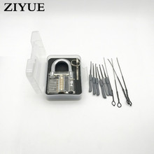 Clear padlock practice lock pick set with Broken Key Extractor Set Locksmith Tool Key Removing Removal Hooks Lock Kit