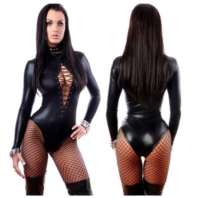 Clubwear Jumpsuits Bodysuit Exotic Sexy Lingerie Black Patent Leather Leotard Faux Leather Latex Catsuit Women Sexy Bodysuit