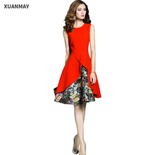 2017 Floral dress Summer Fashion  sexy Vest Dress Red Dresses clothes china  High quality women Floral Pattern dress