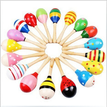 2PC Colorful Kids Wooden Maracas Ball Rattle Toy Sand Hammer Rattle Learning Musical Instrument Percussion Rattle Shaker for BAB