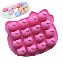 The New Caddy Silicone Cake Mold 16 Even Hello Kitty Cat Jelly Pudding Diy Chocolate Mold 1pc