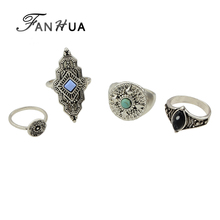 FANHUA 4pcs/set  Jewelry Retro Style Antique Silver Color Gold-Color with Blue Green Stone Geometric Finger Ethnic Rings
