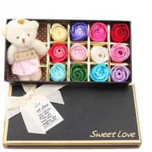1 Box Romantic Scented Bath Soap Rose Soap Flower Petal with Little Cute Bear Doll Gift Box For Mothers Day Gift 12pcs Flowers
