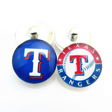 New Arrival Baseball Sports Mix Texas Rangers Logo Glass Snap Button Charms Fit 18mm DIY Snap Bracelets Jewelry 20pcs/lot
