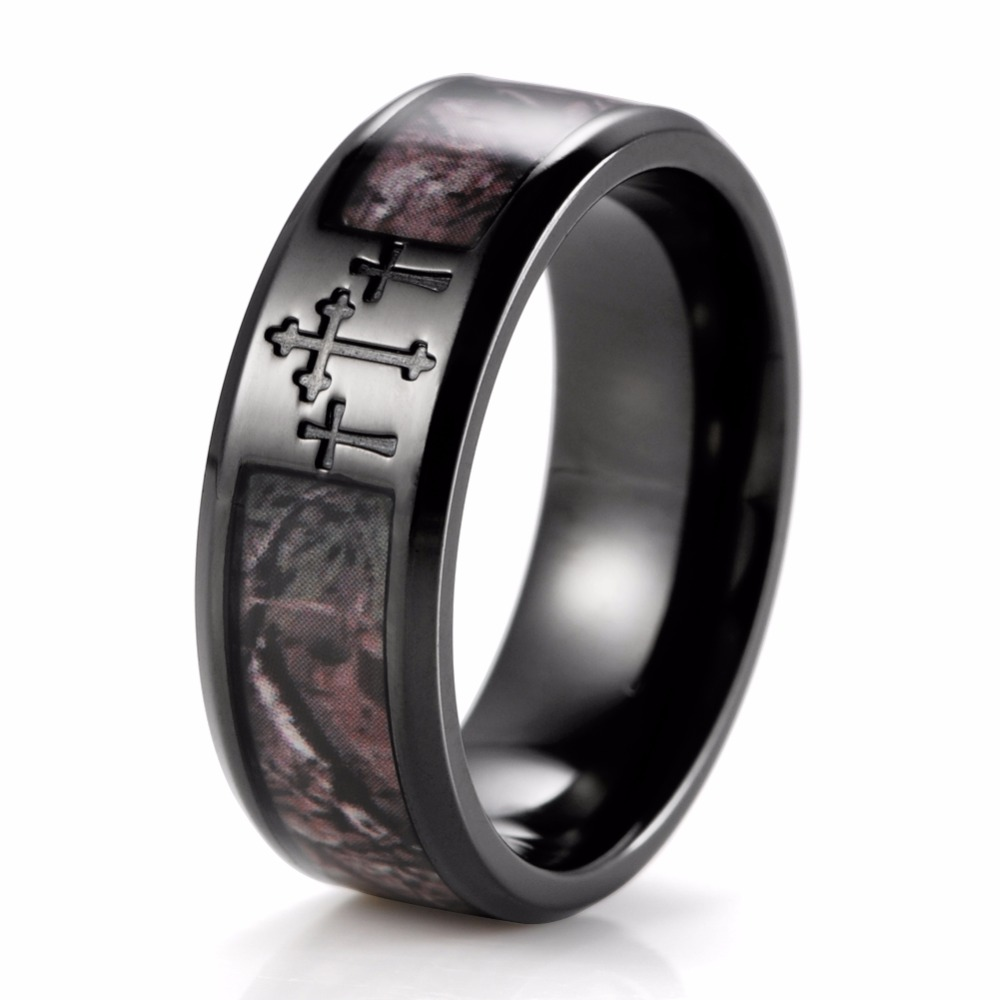 SHARDON Mens Black Three Cross Camo Ring Titanium Outdoor Camouflage Anniversary Band Wedding For Men